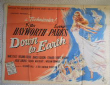Down to Earth, Original UK Quad Poster, Rita Hayworth, '46